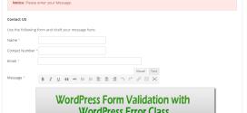 WordPress Form Validation with WordPress Error Class