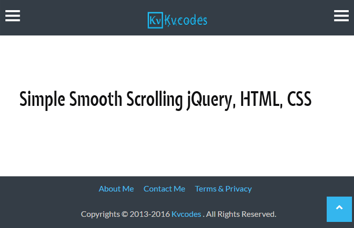 Simple Smooth Scrolling jQuery, HTML, CSS