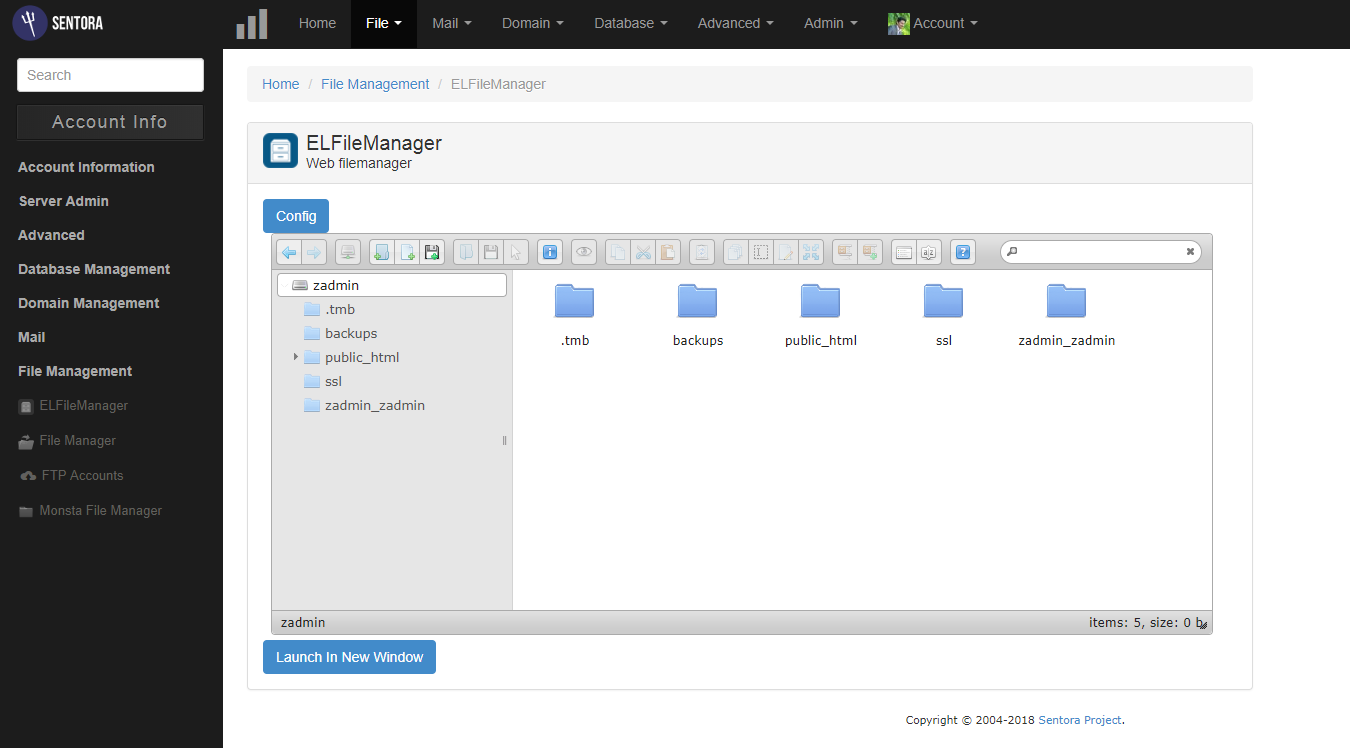 Sentora File Manager