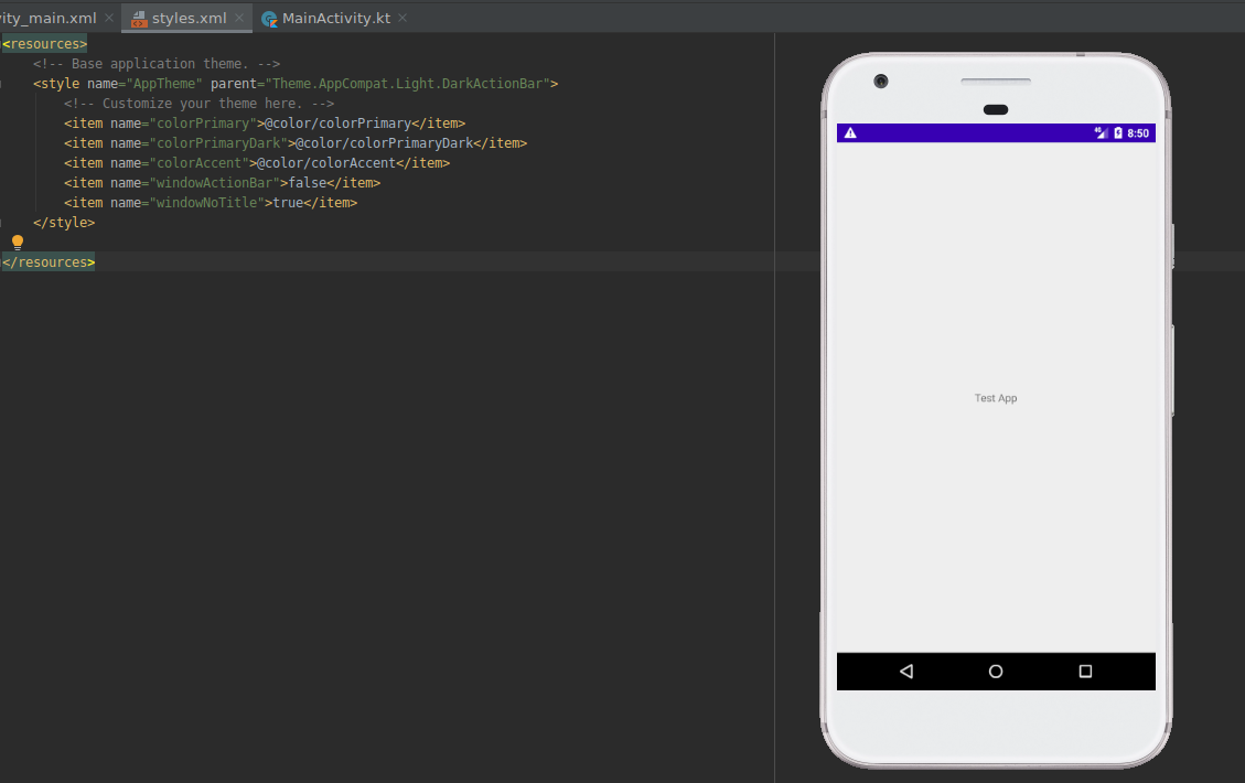 How to Remove Title bar in Android Studio